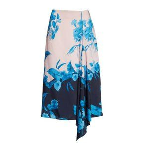 Ted Baker London Skirts - TED BAKER Pink Blue Floral Asymmetrical Midi Skirt